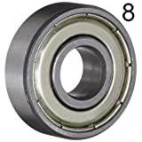 BC Precision BCSKATEBOARD Eight (8) 608ZZ 8x22x7 Double Shielded Skateboard Bearings/Pre-Lubed