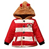 KONFA Baby Girls Boys Lovely Cartoon Bear Striped Hooded Coat,Suitable for 0-4 Years old,Winter Warm Thick Cloak Tops (Navy, 6-12 Months)