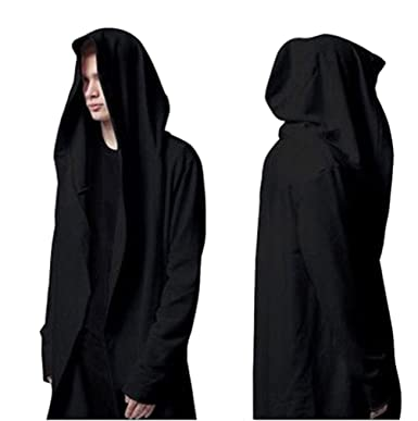 WEIYI H220 Casual Long Hooded Cloak Cape Black Cardigan Jacket Oversize Coat