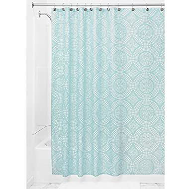 InterDesign Medallion Fabric Shower Curtain, 72 x 72, White/Mint