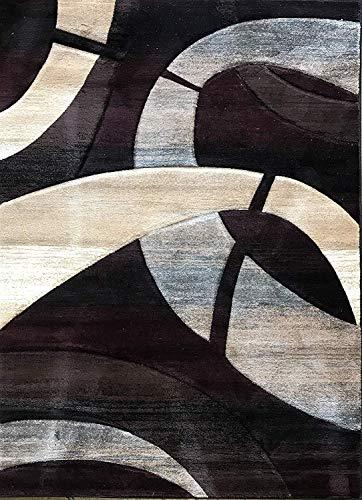 (Sculpture Modern Door Mat Area Rug Burgundy Beige Blue Design 248 (2 Feet X 3 Feet 4 Inch))