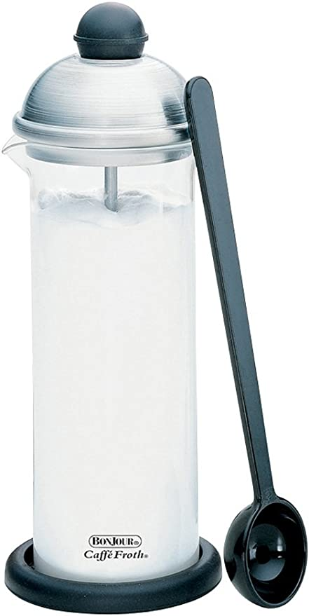 Amazon Com Bonjour Coffee Glass And Stainless Steel Manual Milk Frother 16 Ounce Caffé Froth Monet Home Kitchen