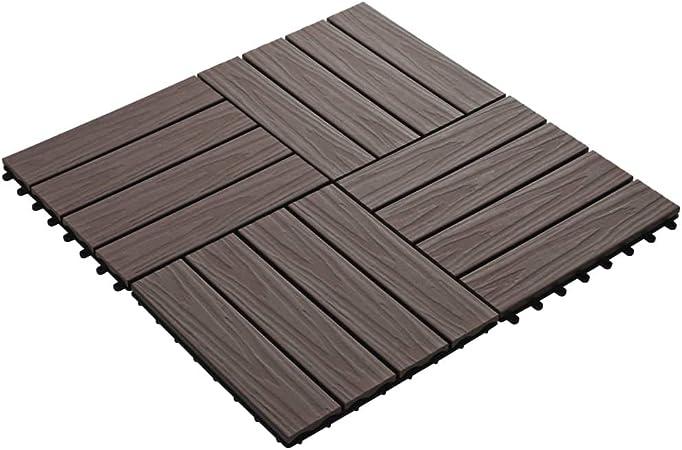 UnfadeMemory Pack of 11 uds Antideslizante Baldosas de Terraza Exterior de WPC de Relieve Profundo para Patio Jardín Terraza Balcón Baño Piscina o SPA,Cada Uno 30x30cm,1 m² en Total (Marrón Oscuro): Amazon.es: