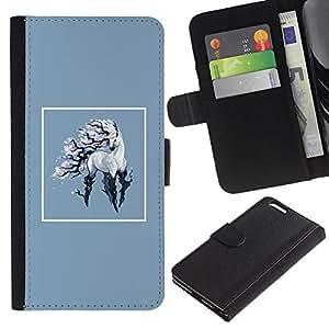 YiPhone /// Tirón de la caja Cartera de cuero con ranuras para tarjetas - Unicornio - Apple Iphone 6 PLUS 5.5