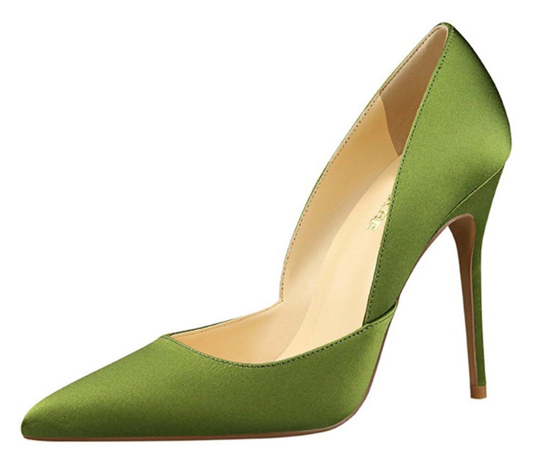 Aisun Women's Simple Low Cut Satin Pointed Toe Dress Slip On Stiletto High Heels Pumps Shoes