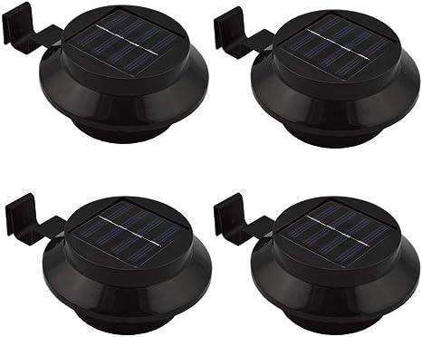 6 Stück Solarlampe 3LEDs Zaun Dachrinnen Außenlampe Leuchte Wandlampe Terrasse