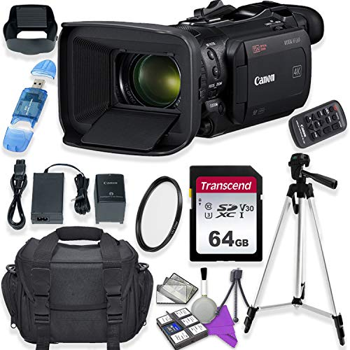 Canon Vixia HF G60 UHD 4K Camcorder with Starter Accessory Kit Including Padded Gadget Case & 64GB High Speed U3 Memory Canon Starter Kit Camcorder