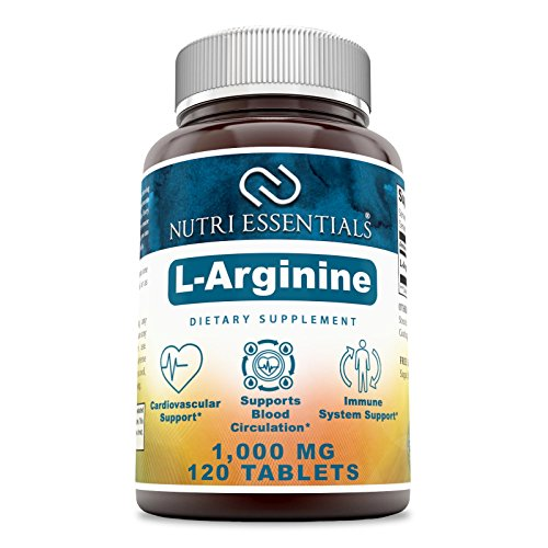 Nutri Essentials L-Arginine 1000 Mg 120 Tablets Dietary Supplement - Supports Cardiovascular Health - Supports Immune System Functions - Promotes Blood Circulation