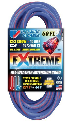 US Wire 99050 12/3 50-Foot SJEOW TPE Cold Weather Extension Cord Blue with Lighted Plug Cold Weather Extension Cord
