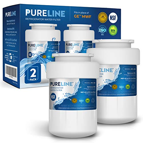 (GE MWF Water Filter. Also Compatible GE Smartwater MWFINT, MWFP, MWFA, GWF, HDX FMG-1, GSE25GSHECSS, WFC1201, RWF1060, 197D6321P006 By PURELINE (2 Pack))