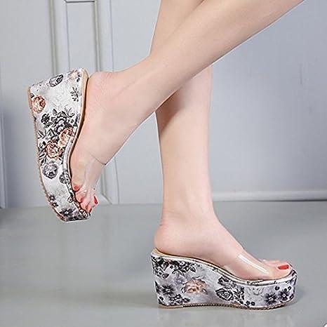 AWXJX womens flip flops Thick bottom Slope Flowers Non-slip