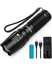 LED Taschenlampe, BINWO Superhelle 2500 CREE XM-L2 Wiederaufladbare Taschenlampen mit USB Ladegerät und Akku, Zoombar, 5 Modis Einstellbarer Fokus Wasserdicht Taschenlampe für Camping Outdoor Sports