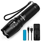 Led Torch, BINWO High Power Rechargeable Torches Super Bright 2500 Lumen, 5 Modes Zoomable Waterproof Tactical Flashlight with 18650 Battery & USB Charger for Outdoor Sports, Warranty for 2 Yea