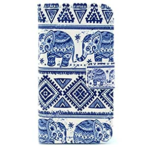 Mobile24 Iphone 4/4S Funda con Tapa, Cover, Funda dura integrada, Bookstyle Book Case, Carcasa con Función de Soporte - Estilo Cartera - Tribal Elefante