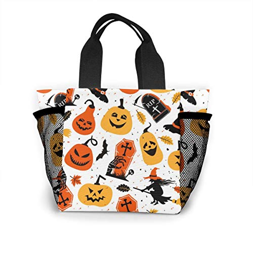 Xiaoxiaodada Halloween Color Festive Shopping Tote for Women Insulated Lunch Tote Bag Cute Lunch Box Lunchbox Reusable Lunch Bag Lunch Organizer Lunch Holder for Women Adult Girls Kids -
