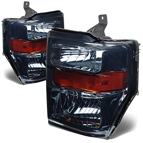 For Ford Super Duty 2nd Gen F250-550 Pair OE Style Smoked Lens Amber Corner Headlight Lamp