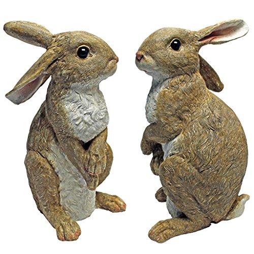 Design Toscano Hopper, the Bunny, Standing Garden Rabbit Statue (Set of 2)