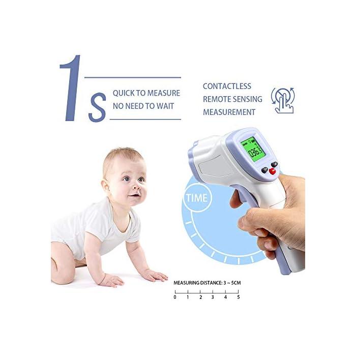 51Xhf527M5L 【PRECISO Y RÁPIDO】 El termómetro de cuerpo infrarrojo sin contacto ha sido probado para precisión (desviación de medición ≤ ± 0.2 grados) y confiabilidad. Solo necesita presionar un botón cuando use este termómetro digital de frente, luego proporcionará una temperatura precisa al instante en 1 segundo. 【SIN CONTACTO】 No necesita ponerse en contacto con el cuerpo cuando use este termómetro. Se puede detectar dentro de una distancia de 2 cm a 5 cm. 【SEGURO E HIGIÉNICO】 Termómetro infrarrojo LCD digital sin contacto, pantalla más clara, más segura y más conveniente. En comparación con el termómetro de mercurio, no hay peligro de romper el vidrio o tragar mercurio.