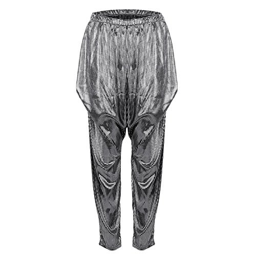 YiZYiF Unisex Metallic Harem Hip Hop Metallic Wax Bodybuilding Baggy Workout Pants Silver Black One -