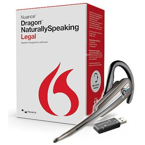 Nuance Dragon Naturally Speaking Legal Version 13 Speech Recognition Software with Wireless Bluetooth Headset and USB Dongle