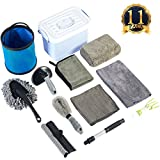 #7: Car Cleaning Tools Kit,Car Wash/Tire Brush/Wash Mitt/Washing Sponge/Microfiber Cloths/Indoor Double Head Brush/Window Water Blade,Gray,Gifts [11PACK]