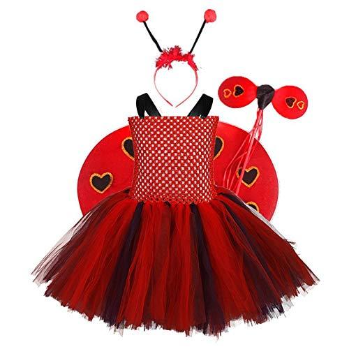 NINGYE Disfraz de Mariquita para niñas, Disfraz de Cosplay con ...