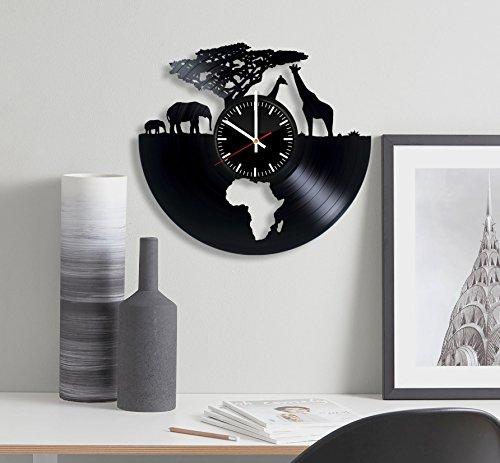 African Animals Clock - Africa Safari Vinyl Record Wall Clock - Wall Art Room Decor Handmade Decoration Party Supplies Theme - Handmade Present For Kids Adults Men Women - Vintage and Modern Style