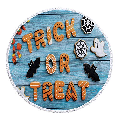 iPrint Thick Round Beach Towel Blanket,Halloween,Fresh Trick or Treat Gingerbread Cookies on Blue Wooden Table Spider Web Ghost Decorative,Multicolor,Multi-Purpose Beach Throw