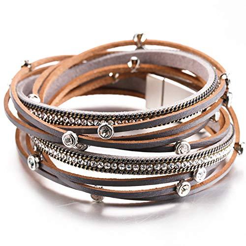 Leather Bracelets for Women Luxury Femme Fashion Crystal Beaded Bohehian Multilayer Wrap Bracelet Woman Jewelry Gray