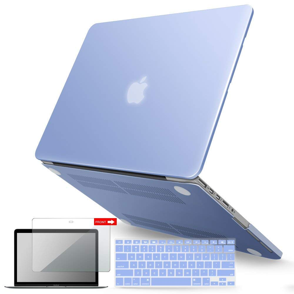 iBenzer Basic Soft-Touch Series Plastic Hard Case, Keyboard Cover, Screen Protector for Apple Previous Generation MacBook Pro 13-inch 13'' with Retina Display A1425/1502, Serenity Blue