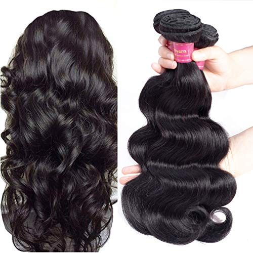 Geoyern Brazilian Body Wave Virgin Hair Weave 3 Bundles 10A Unprocessed Human Hair Weaving Extensions Natural Color Remy Hair Weft 3pcs For Black Women(10 12 14)