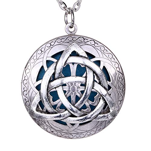 Antique Silver Celtics Knots Locket | Oil Diffuser Exquisite Pendant Necklace Jewelry | Style Gift Pouch