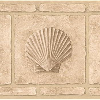 Faux Bricks With Seahorse Seashell Beige Wallpaper Border