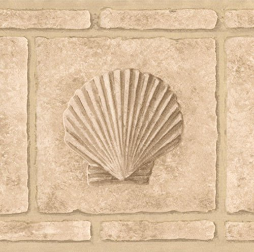 Faux Bricks with Seahorse Seashell Beige Wallpaper Border Retro Design, Roll 15' x 7''