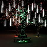 Meteor Shower Lights, guaiboshi LED Falling Rain lights 11.8in 8 Tubes 192leds Waterproof Christmas Icicle Light,Outdoor Raindrop Cascading Light for Party Wedding Garden Holiday Xmas Decoration,White