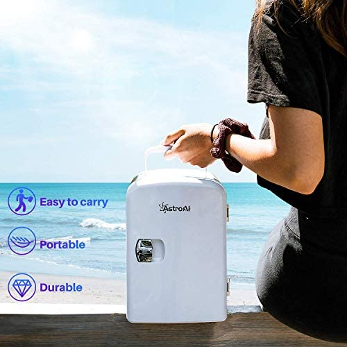 AstroAI Mini Fridge 4 Liter/6 Can AC/DC Portable Thermoelectric Cooler and Warmer for Skincare, Foods, Medications, Home and Travel, White