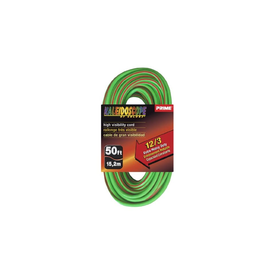 Prime Wire & Cable KC500541 50 Foot 12/3 SJTW Kaleidoscope Extra Heavy Duty Outdoor Extension Cord with Prime light Indicator Light, Lime Green and Red
