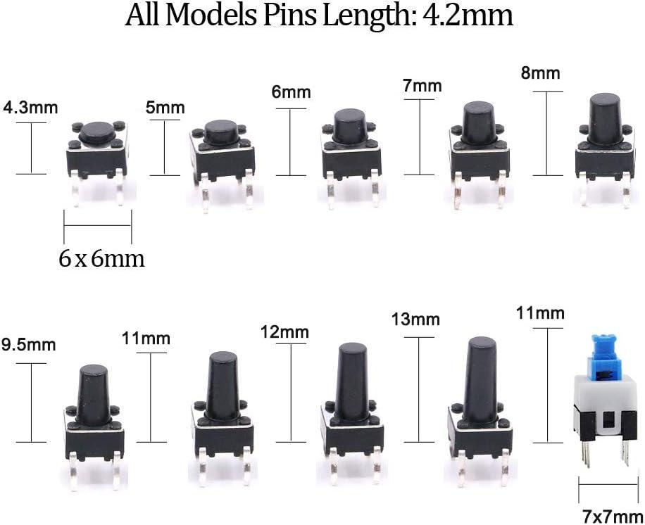 bouton-poussoir momentan/és /à 4 broches Kit dassortiment dinterrupteurs YIXISI 180 pi/èces Interrupteurs /à bouton-poussoir tactiles pour Arduino 6 X 6, 7 X 7 mm