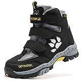 Kids Boots Waterproof Hiker Boot Trekking Shoes for Girls Boys Sneakers Running Climbing Outdoor Shoes Big Little Kids Waterproof Non-Slip Steel Buckle Winter Camp Black Size 5.5