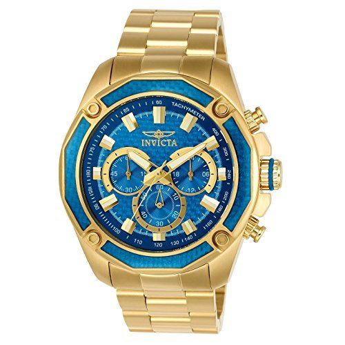 Invicta Men's 'Aviator' Quartz and Stainless Steel Casual Watch, Color:Gold-Toned (Model: 22805)