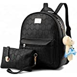 Korean Style 2 Pieces Backpack Set for Women and Girls - Black