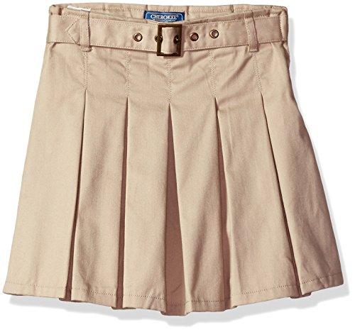 Cherokee Big Girls' Uniform Skirt with Hidden Short, Khaki Belt, 12 by Cherokee