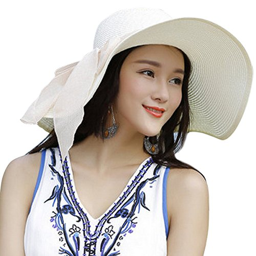 Lanzom Womens Big Bowknot Straw Hat Floppy Foldable Roll up Beach Cap Sun Hat UPF 50+ (Ivory White) (Floppy Hat With Bow For Women)