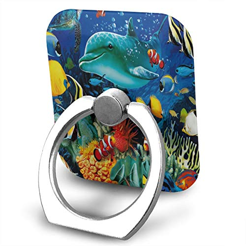 Cell Phone Finger Ring Stand Live Dolphin 360°Rotation Suitable for Most Smartphone (Mlb Golden Ring)