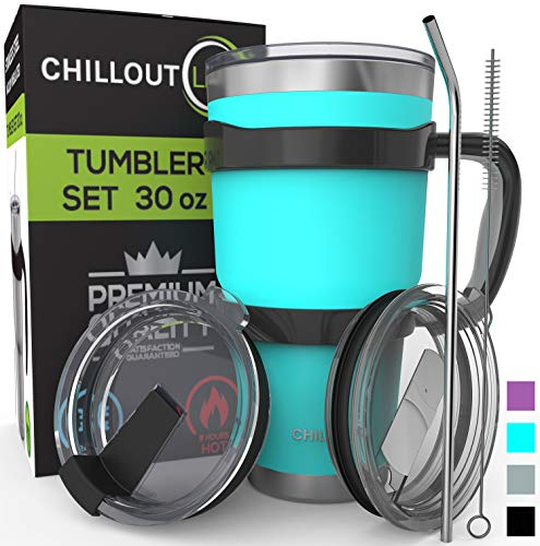 Stainless Steel Travel Mug with Handle 30oz - 6 Piece Set. Tumbler with Handle, Straw, Cleaning Brush & 2 Lids. Double Wall Insulated Large Coffee Mug Bundle - Aqua Blue Powder Coated Tumbler
