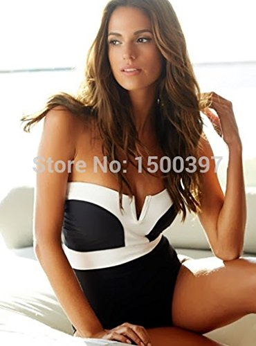 733c419edf1 Amazon.com   V-wire Bandeau One Piece Swimsuit with Slide Adjust Lingerie  Straps Women Cross-back Swimwear Monokini   Everything Else