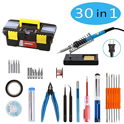 Soldering Iron Kit, VOLADOR 30 in1 60W Temperature Control Solder Iron, 5pcs Soldering Tips, Desoldering Pump, Tweezers, Wick, Soldering Iron Stand with Cleaning Sponge and Tool Case by VOLADOR