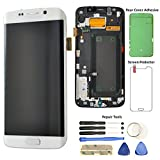 Display Touch Screen (AMOLED) Digitizer Assembly with Frame for Samsung Galaxy S6 Edge (5.1 inch) (GSM Model) AT&T (G925A)/ T-Mobile (G925T)/ Global(G925F) (for Phone Repair) (White Pearl)