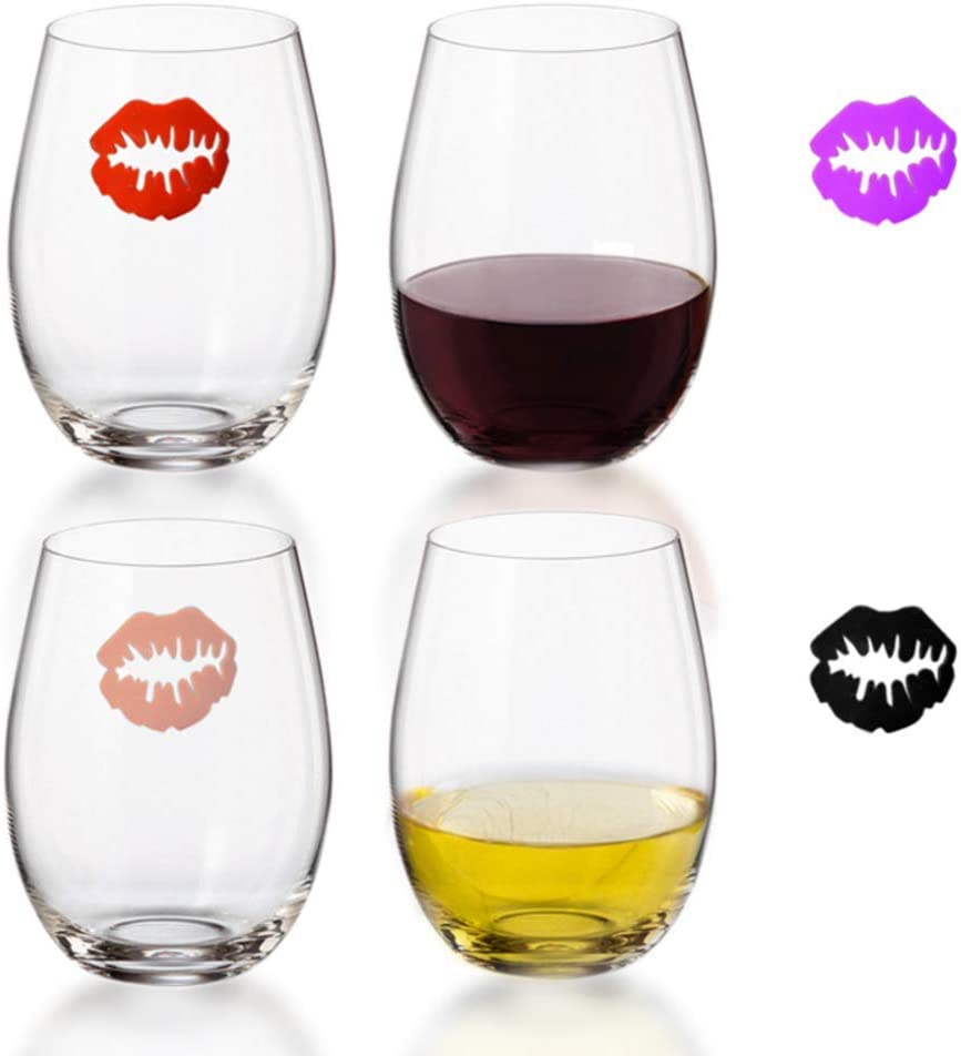 Plastic Stemless Wine Glasses set of 4 - FUN! 4 Kiss Wine Charms - 16 oz Wine Glass Set Ideal for Red or White Wine - Wine Glasses Perfect for Party Gifts - Reusable Wine Glass for All Beverages