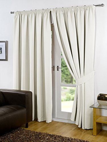 Viceroybedding Pair Of Cream 46quot Width X 54quot Drop Supersoft Thermal Blackout Curtains